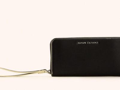 Armani Exchange portafoglio nero da donna con zip