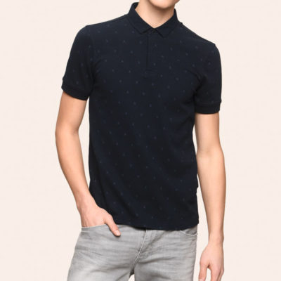 Armani Exchange polo tinta unita con logo all over