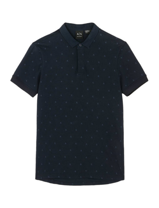 Armani Exchange polo tinta unita con logo all over -4