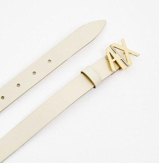 Armani Exchange cintura donna in pelle avorio fibbia oro A|X con strass-1