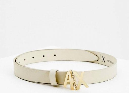 Armani Exchange cintura donna in pelle avorio fibbia oro A|X con strass