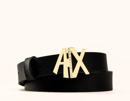Armani Exchange cintura donna in pelle nera fibbia oro A|X con strass