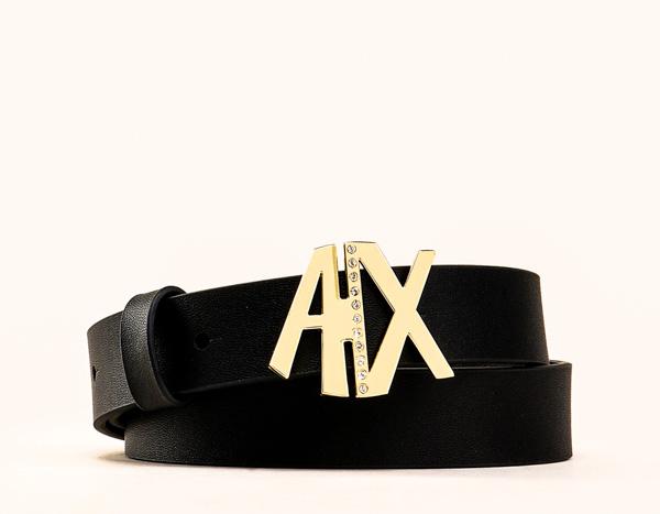639a43d0702 Armani Exchange cintura donna in pelle nera fibbia oro A