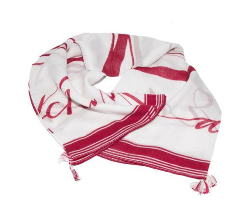 Armani Exchange foulard con scritta rossa ciliegia