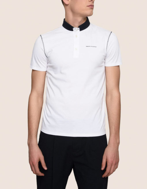 Armani Exchange polo da uomo con colletto a contrasto-2