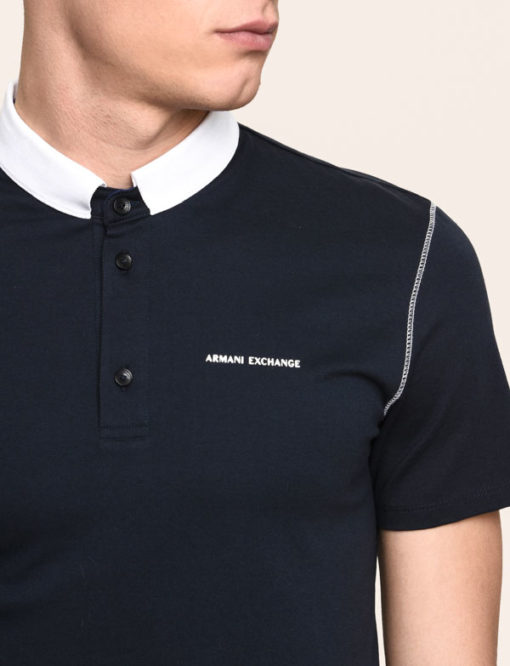 Armani Exchange polo da uomo con colletto a contrasto -5