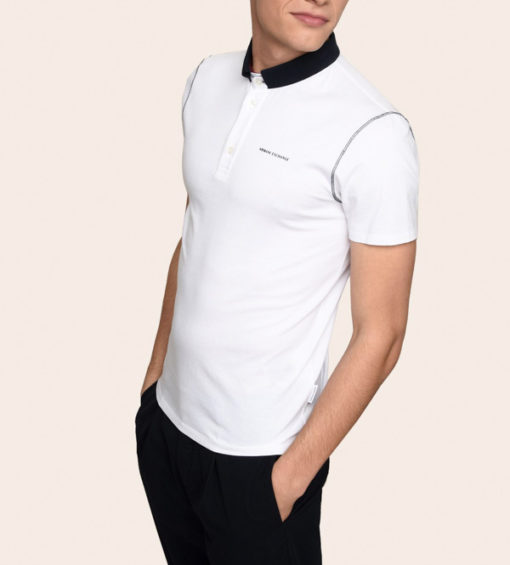 Armani Exchange polo da uomo con colletto a contrasto