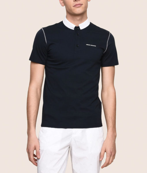 Armani Exchange polo da uomo con colletto a contrasto-1