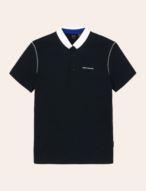 Armani Exchange polo da uomo con colletto a contrasto-3