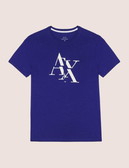 Armani Exchange maglietta blu mezza manica stretch da uomo con logo A|X