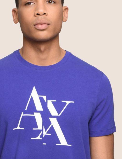 Armani Exchange maglietta blu mezza manica stretch da uomo con logo A|X-1