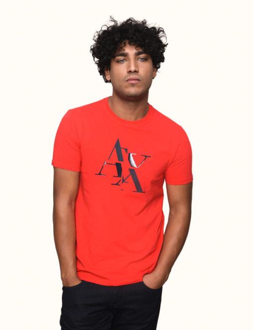 Armani Exchange maglietta mezza manica stretch da uomo con logo A|X