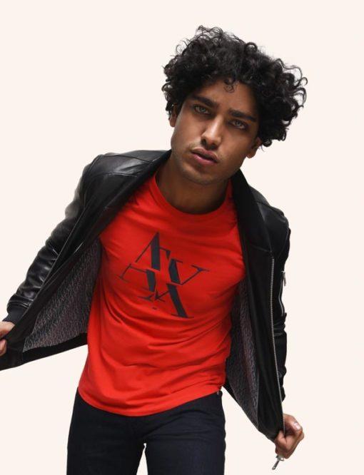 Armani Exchange maglietta mezza manica stretch da uomo con logo A|X -1