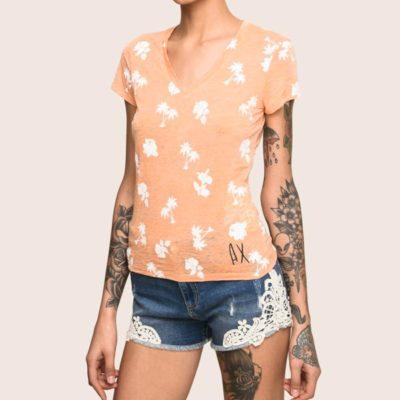 Armani Exchange t-shirt scollo a v in fantasia
