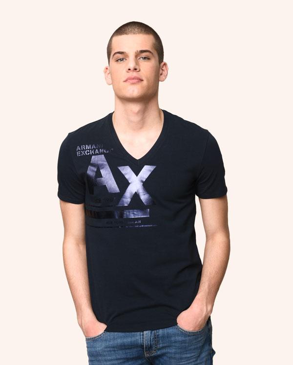 ARMANI Exchange t-shirt blu scollo a v con stampa A 0db3e0cab2e