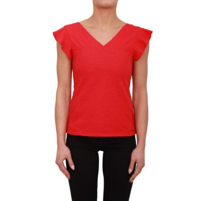 Armani Exchange top rosso in tessuto lavorato