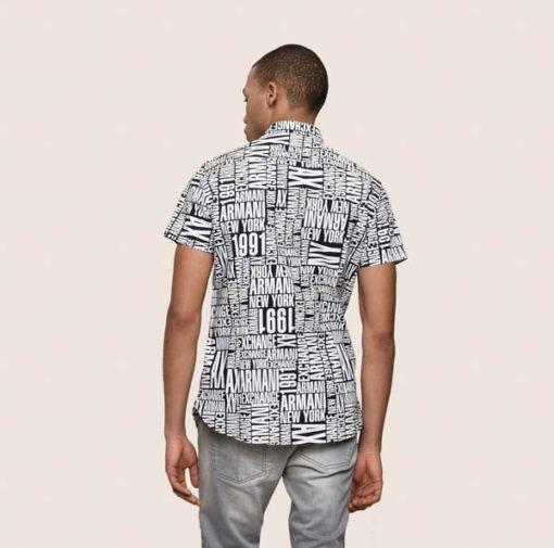 camicia mezza manica da uomo Armani Exchange con scritta all over-3