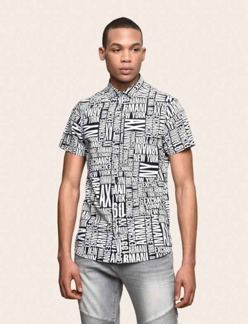 camicia mezza manica da uomo Armani Exchange con scritta all over-1