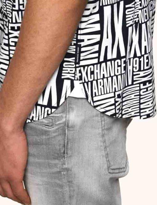 camicia mezza manica da uomo Armani Exchange con scritta all over-2