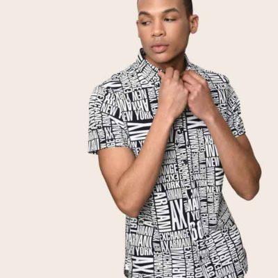 camicia mezza manica da uomo Armani Exchange con scritta all over