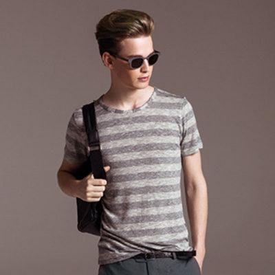 Maglietta mezza manica Besilent con riga orizzontale