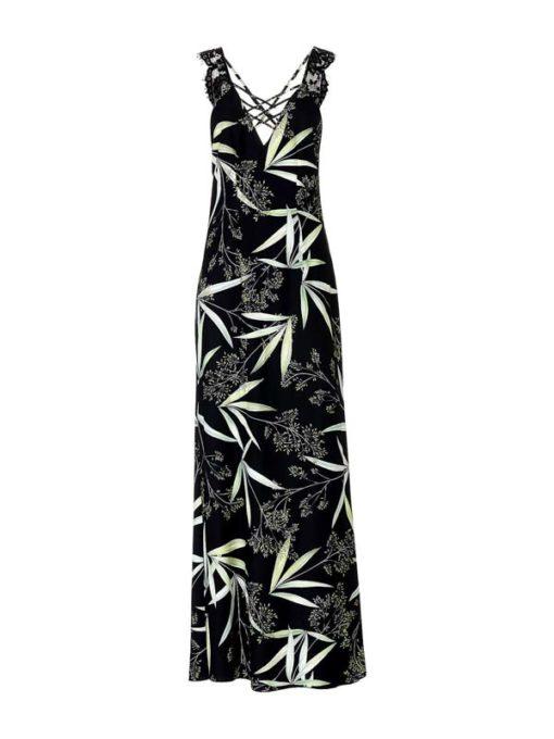 GUESS abito lungo nero in fantasia floreale -1
