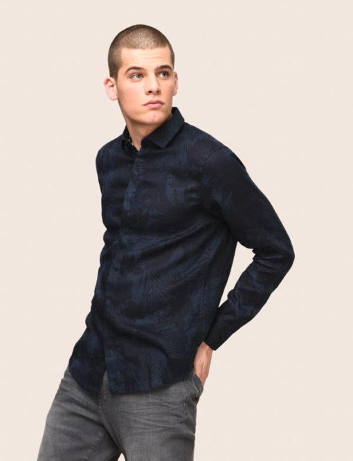 ARMANI EXCHANGE CAMICIA IN LINO DA UOMO BLU IN FANTASIA