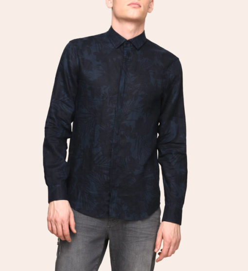 ARMANI EXCHANGE CAMICIA IN LINO DA UOMO BLU IN FANTASIA -1