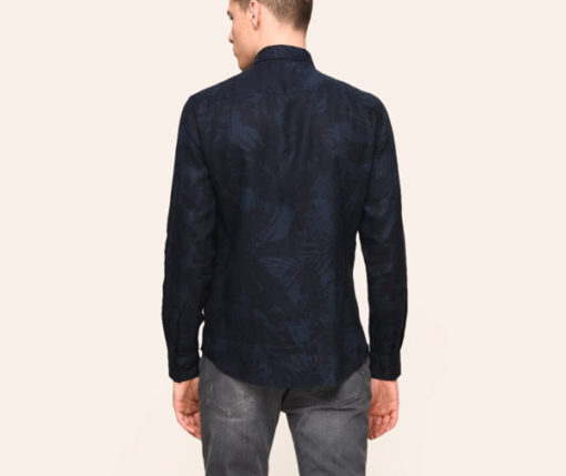 ARMANI EXCHANGE CAMICIA IN LINO DA UOMO BLU IN FANTASIA -3