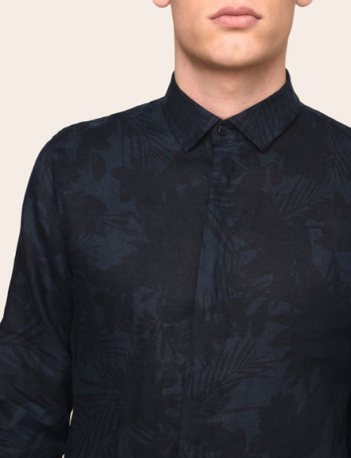 ARMANI EXCHANGE CAMICIA IN LINO DA UOMO BLU IN FANTASIA -2