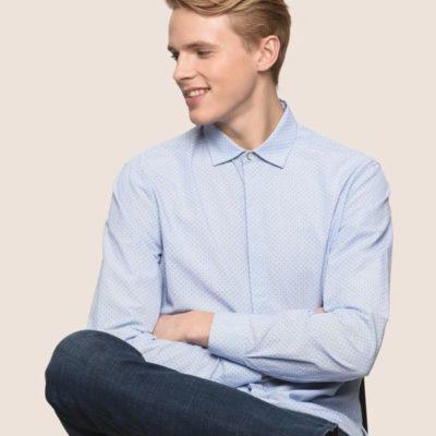 Armani Exchange camicia azzurra in microfantasia da uomo