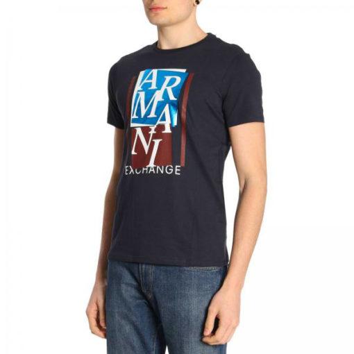 ARMANI EXCHANGE t-shirt mezza manica da uomo con stampa lucida -2