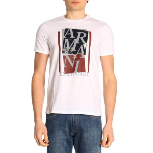 ARMANI EXCHANGE t-shirt mezza manica da uomo con stampa lucida -1