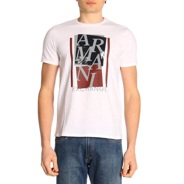 dbcc58a0aa5 ARMANI EXCHANGE t-shirt mezza manica da uomo con stampa lucida -1
