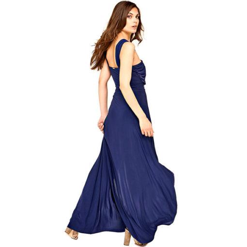 GUESS vestito lungo con spacco in maglina blu-1