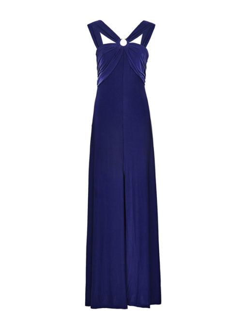GUESS vestito lungo con spacco in maglina blu-2