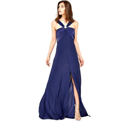 GUESS vestito lungo con spacco in maglina blu