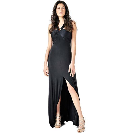 GUESS vestito lungo con spacco in maglina nera