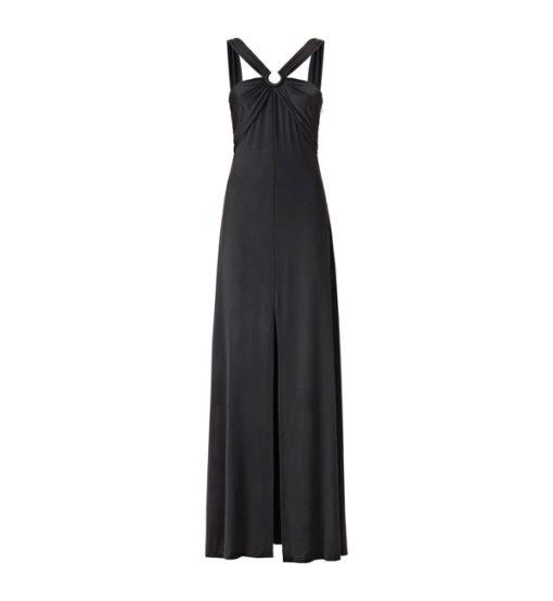 GUESS vestito lungo con spacco in maglina nera-2