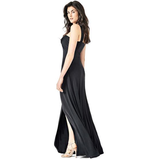 GUESS vestito lungo con spacco in maglina nera-1