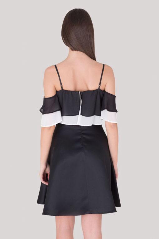 Artigli abito elegante da donna nero in raso -2
