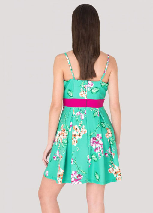 ARTIGLI vestito verde e fucsia in fantasia -2