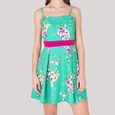 ARTIGLI vestito verde e fucsia in fantasia