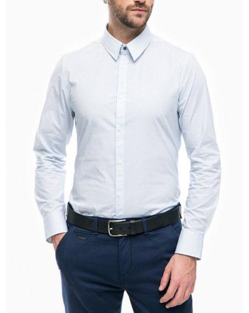 GUESS camicia bianca in microfantasia azzurra da uomo