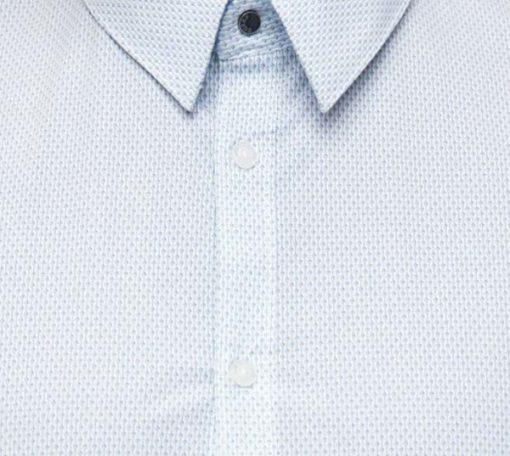 GUESS camicia bianca in microfantasia azzurra da uomo -3