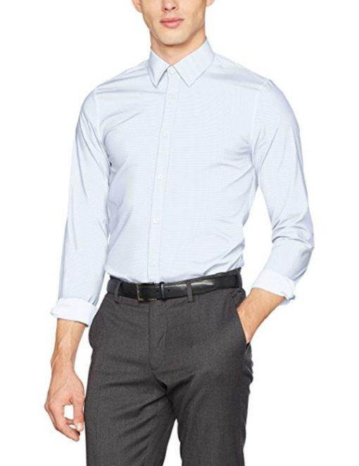GUESS camicia bianca in microfantasia azzurra da uomo -1