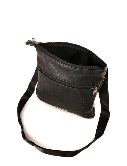 ARMANI EXCHANGE borsello da uomo in similpelle nera lavorata -3