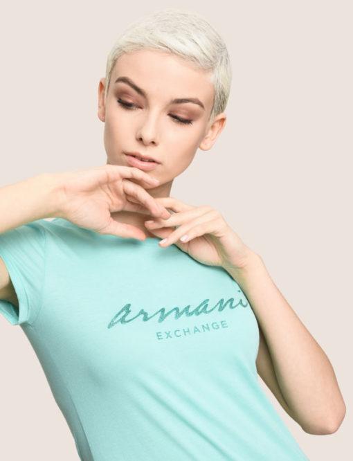 Maglietta mezza manica in cotone Armani Exchange da donna