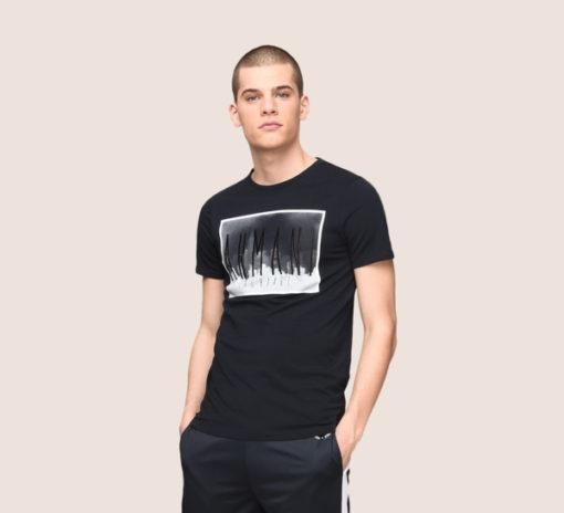 Armani Exchange maglietta mezza manica da uomo in cotone con logo