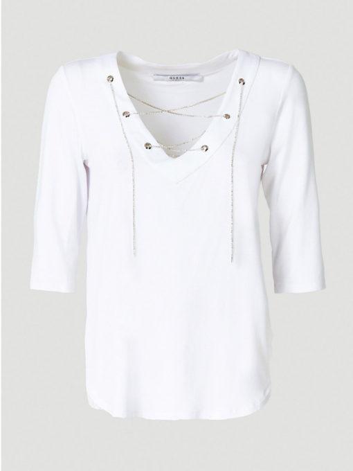 GUESS maglietta manica tre quarti bianca con scollo a v-1
